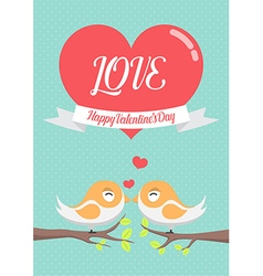 lovely birds couple kissing each other on tree vector image