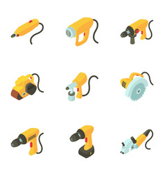 Male instrument icons set isometric style vector
