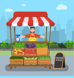 Male street vendor selling vegetables vector