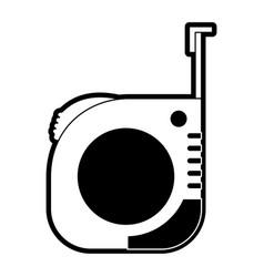 Measure tape icon black silhouette vector