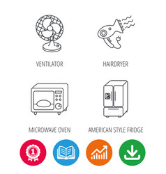 Microwave oven hair dryer ventilator icons vector