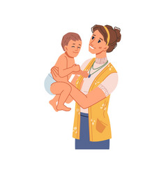 Mother playing with newborn child in diaper vector