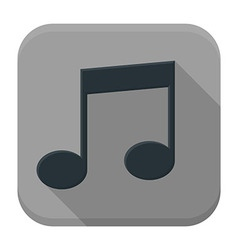 Music black note flat app icon with long shadow vector image