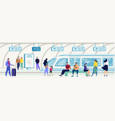 passengers on subway station flat concept vector image