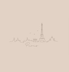 pen line silhouette paris beige vector image