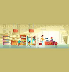 people in supermarket interior cartoon vector image