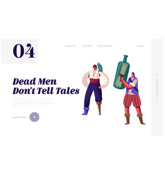 pirate story website landing page young men vector image