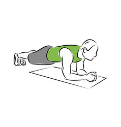 plank exercise man making perfect body health vector image