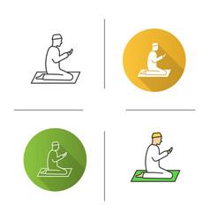 Praying muslim man icon vector