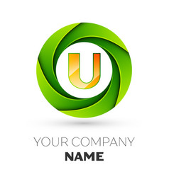 realistic letter u logo in the colorful circle vector image