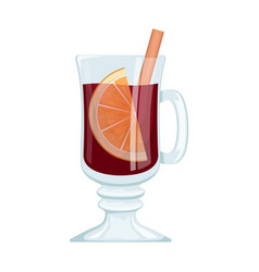 Red mulled wine in a cup with orange slices vector