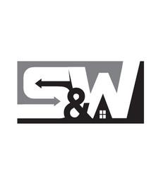 s w home construction logo designs modern vector image