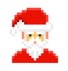 santa claus pixel art cartoon retro game style vector image