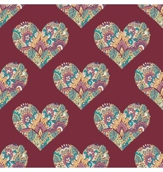 Seamless with floral hearts vector