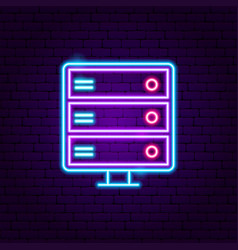server neon label vector image