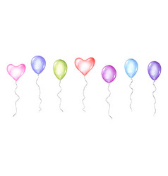 Set coloful watercolor balloons isolated on vector
