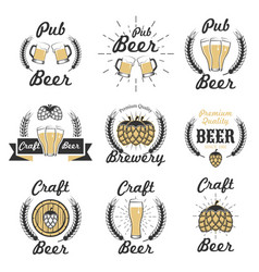 set craft beer emblems logos badges vector image