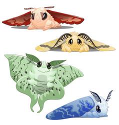 set cute colorful cartoon animated silkworm vector image
