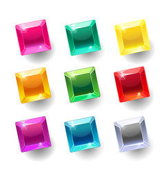 set of cartoon square different color crystals vector image