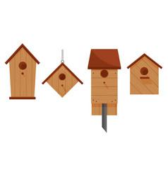 Set of four wooden birdhouses vector