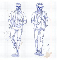 set of two men with skull beard moustache vector image