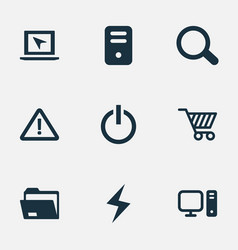 set simple computer icons vector image