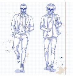set two men with skull beard moustache vector image