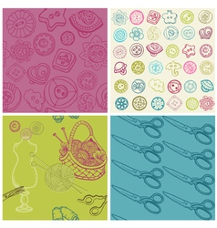 Sewing kit - set seamless backgrounds vector
