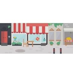 shopping street exterior facade buildings vector image