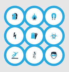 sign icons colored set with hand protection vector image