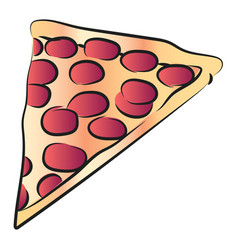slice of cheese pepperoni pizza or color vector image