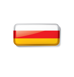 South ossetia flag on a white vector