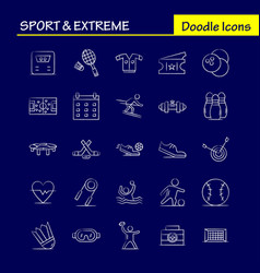 Sport and extreme hand drawn icons set for vector