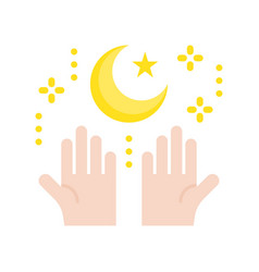 Star and crescent with hand ramadan related flat vector