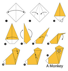 Step instructions how to make origami a monkey vector