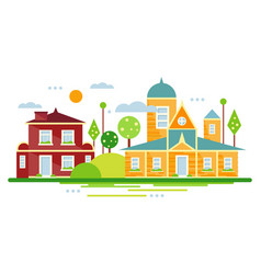 Suburban houses summer urban landscape vector
