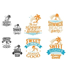 summer vacation labels and banners vector image