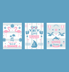 summer vacation set typographic banners vector image