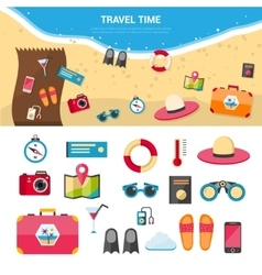 Summer Vacation Travel Concept Icons Set vector