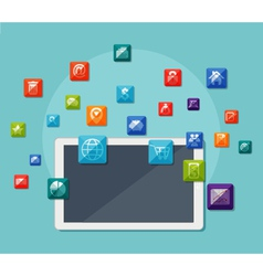 Tablet with icons on communication concept vector