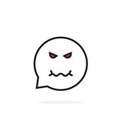 Thin line evil emoji speech bubble logo vector