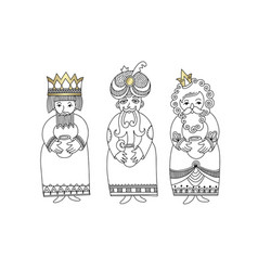 Three kings for christian christmas holiday vector