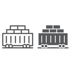 train cargo line and glyph icon transport and vector image