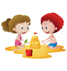 two kids playing with sandcastle vector image