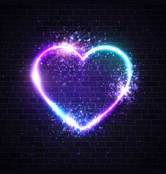 valentines background with neon light heart sign vector image
