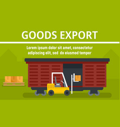 Wagon goods export concept banner flat style vector