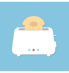 white toaster with shadow isolated on blue vector image