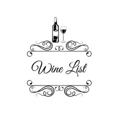 wine list with wine bottle glass swirls vector image