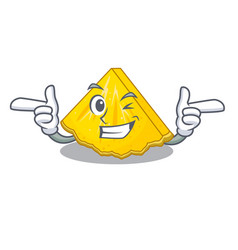 Wink pineapple slice isolated in the mascot vector