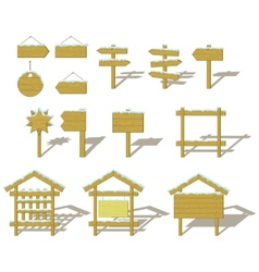 wood signs winter set vector image